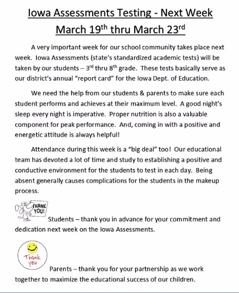 Hamburg CSD - Iowa Assessments March 19th to March 23rd